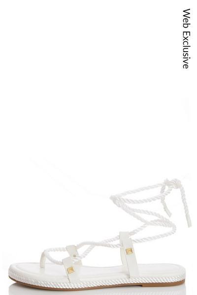 White Tie Up Flat Sandals